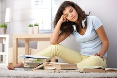 College student learning at home Royalty Free Stock Image