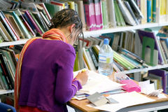 College student at a library Stock Image