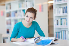 College student in a library. Pretty young college student in a library Stock Photos