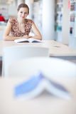 College student in a library. Pretty young college student in a library Stock Photography