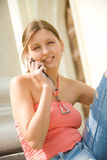 College student with mobile phone Royalty Free Stock Photography