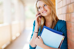 College student on mobile phone Royalty Free Stock Photo