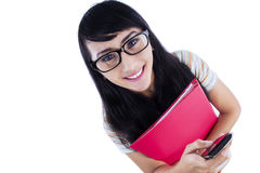 College student with mobile phone Royalty Free Stock Photo