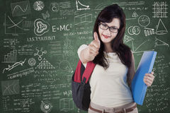 College student with OK sign and scribble Royalty Free Stock Images