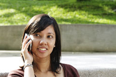 College Student on the Phone Stock Photography