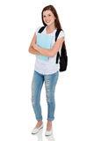 College student portrait. Full length portrait of young female college student on white background Stock Photo