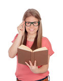 College student reading a book Royalty Free Stock Image