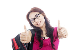 College student showing thumbs-up Stock Images