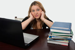 College Student studying. Attractive blond young cacasian woman sitting at desk in front of laptop computer beside a pile of text books royalty free stock image