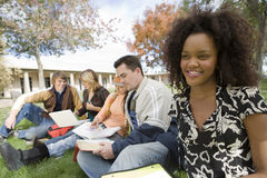 College Student Studying At Campus Stock Photos