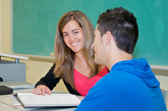 College student studying in classroom Stock Photos