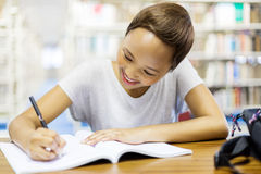 College student studying library Stock Photo
