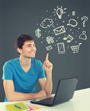 College student Thinking looking up. concept of multimedia techn Stock Photo