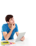 College student Thinking looking up to the empty blank space. Male university college student Thinking looking up to the empty blank copy space Stock Photography