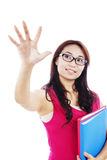 College student touching something Stock Image