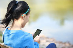 College student use smart phone Stock Image