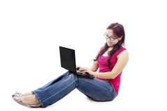 College student using laptop Stock Image