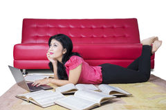 College Student Using Laptop Computer Royalty Free Stock Images