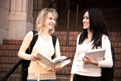 College students. Two college students meeting and talking on campus Royalty Free Stock Photography