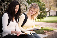 College students. A shot of two college students having a discussion on campus Stock Images