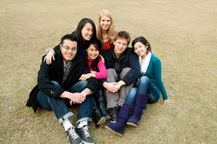 College Students. Group of 6 college students outdoor Stock Photo