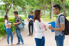 College students on campus Stock Photos
