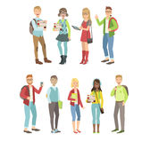 College Students Characters Set. College Students Set Of Simple Cartoon Flat Vector Colorful Characters On White Background Royalty Free Stock Photography