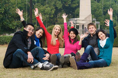 College Students Cheering. Group of 6 college students outdoor Royalty Free Stock Images
