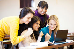 College students cheering a game Royalty Free Stock Image