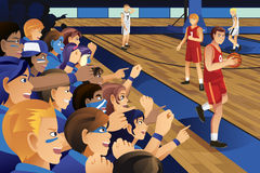 College students cheering for their team in a basketball game. A vector illustration of college students cheering for their team in a basketball game Royalty Free Stock Photo