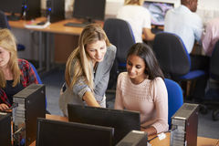 College Students At Computers In Technology Class Stock Image