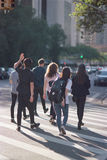 College Students Crossing. The street in New York City Royalty Free Stock Photo