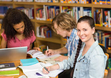College students doing homework in library Stock Images