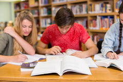 College students doing homework in library Royalty Free Stock Photos