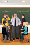 College students having a discussion with their professor. A vector illustration of college students having a discussion with their professor in the classroom Royalty Free Stock Photo