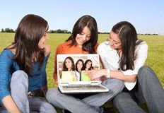 College students having fun outdoors Stock Photography