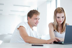 College students having fun studying together Stock Photos