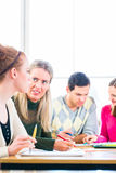 College students having teamwork royalty free stock image