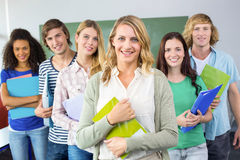 College students holding folders at college Royalty Free Stock Photography