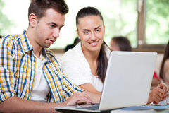 College students with laptop Stock Photo