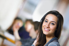 College students in a library Stock Image