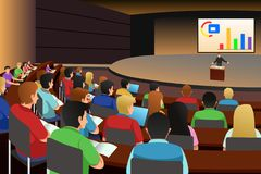 College students listening to the professor in the auditorium. A vector illustration of college students listening to the professor in the auditorium royalty free illustration