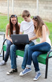 College students outdoors. Group of college students outdoors Stock Photo