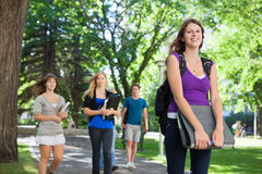 College Students Outside Stock Images