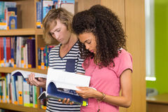 College students reading books in library. Two college students reading books in the library Royalty Free Stock Photo