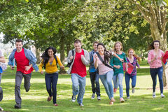 College students running in the park royalty free stock images