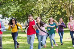 College students running in the park. Full length of a group of college students running in the park Royalty Free Stock Photo