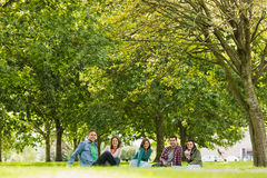 College students sitting on grass in park Royalty Free Stock Photo