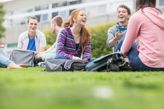 College students sitting in the park Royalty Free Stock Image