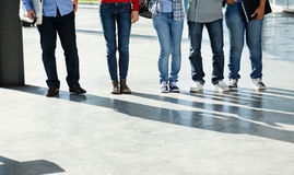 College Students Standing In A Row On University Royalty Free Stock Photography